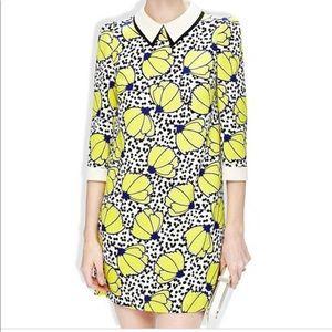 Yellow Floral Polka Dot Lapel Dress
